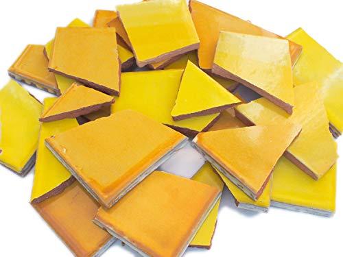 900g Bruchmosaik, Mosaikfliesen aus handgefertigten mexikanischen Fliesen - Mango Gelb - Töne Scherben