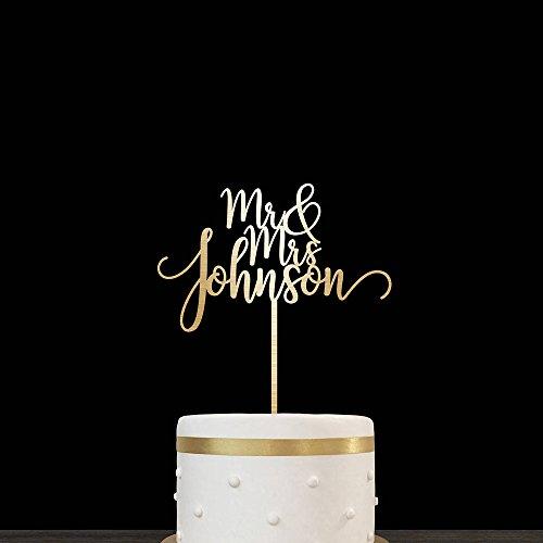 hzeit Tortenaufsatz Rustikal Namen Personalisierte Holz gold Tortenaufsatz für Hochzeit Party Geschenk ()
