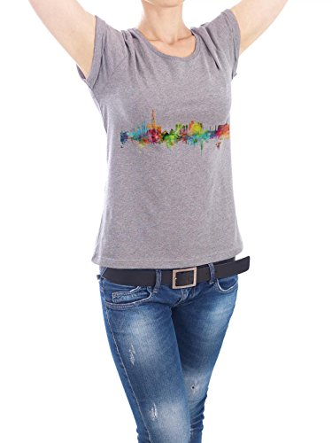 "Design T-Shirt Frauen Earth Positive ""Dubai Watercolor"" - stylisches Shirt Städte Städte / Dubai Reise Architektur von Michael Tompsett Grau"