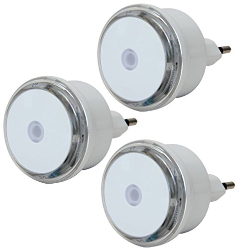 Electraline 92194 Set 3 Luci Notturne a LED, Sensore Crepuscolare,