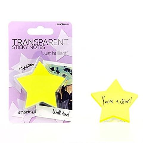 SUCK UK Transparent Sticky Notes - Yellow Stars