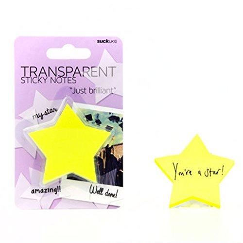 SUCK UK Transparente Haftnotizen - gelbe Sterne