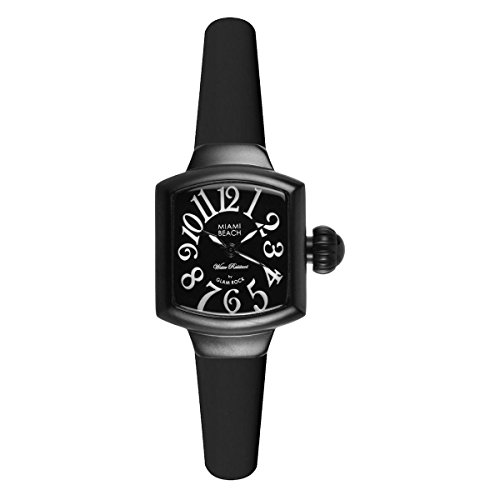 Glam Rock Miami Beach Art Deco MBD27021 27X24mm Ion Plated Stainless Steel Case Black Silicone Mineral Women's Watch