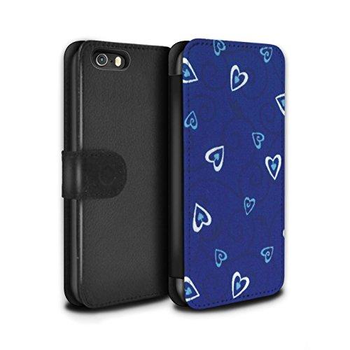 Stuff4 Coque/Etui/Housse Cuir PU Case/Cover pour Apple iPhone SE / Jaune/Vert Design / Coeur Vigne Motif Collection Bleu/Turquoise