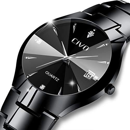 CIVO Herren Uhren Wasserdicht mit Schwarz Edelstahl Armband Minimalistisch Luxus Armbanduhr Tag Datum Kalender Mode Beiläufig Einfach Entwurf Klassisch Herren Analog Quarz Uhr (Schwarz)