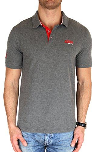 M.Conte Herren Poloshirt Kurzarm Polohemd T-Shirt Polo-Shirt Pique Basic Men's Plain Royal Blau M L XL XXL XXXL Romano Grau-Melange