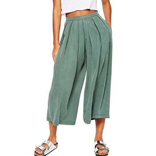 Deman Shorts-Artistic9 DamenBaumwolle Leinen weites Bein Hose einfarbig plissiert Palazzo Capri Hose hohe Taille Lounge Hose bequem lose fließende Gaucho Hose mit Taschen -