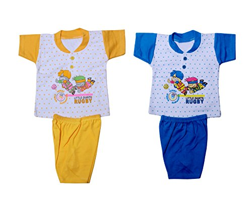 IndiStar Baby Girl's Cotton Clothing Set(Pack of 2)_Assorted Color/Print_Size-0-6 Months_10000-8182-IW-B-P2-0