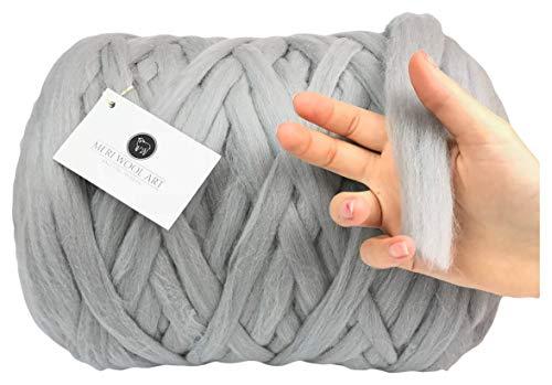 Grays Seide Pullover (MeriWoolArt 100% Mini Merino Wolle |20mm| Dicke Strickgarn Für Decken, Teppich, Pullover, Mützen, Körbe Filzen/Vorspinnen / Spinnen (68. Light Gray, 3Kg))