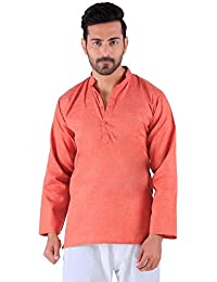 BDS Chikan Cotton Rust Kurta for men's Lucknowi Chikan Work - BDS00909