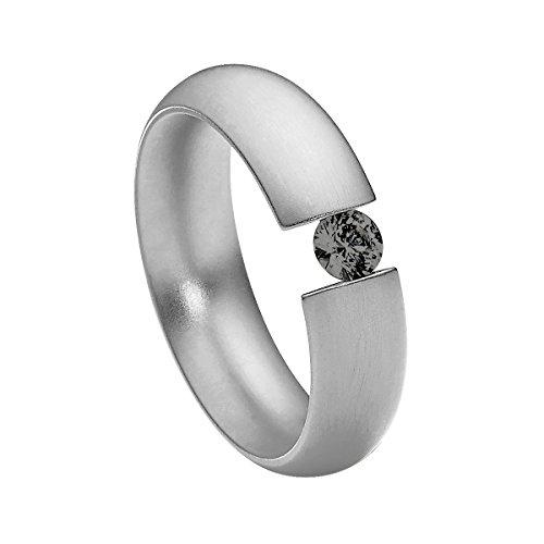 Schwarze Diamant-ring 3-stein (Heideman Damen-Ring intensio matt Spannring mit Swarovski stein schwarz 4 mm funkelt wie ein Diamant aus Edelstahl silber farbend Größe 60 (19.1))