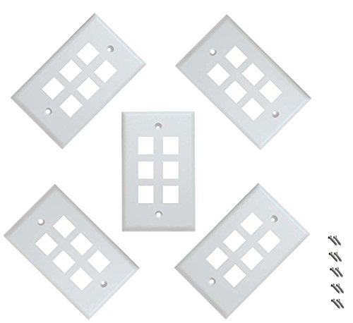 iMBAPrice 6 Port Keystone Jack Wall Plate 1-Gang - White (Pack of 5) by iMBAPrice Wall-plate 1 Gang