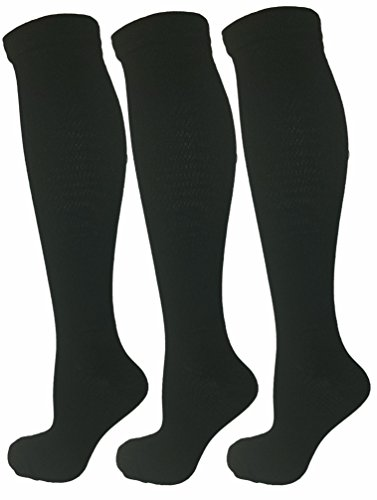 3er Pack Damen Kompressionsstrümpfe, Mäßige / Mittlere Kompression 15-21 mmHg (Klasse 1). Ideal für Medizinische Nutzung, Krankenschwestern, Joggen, Fitness, Reise & Flug Kniestrümpfe. (Mmhg 30 Unterstützung)