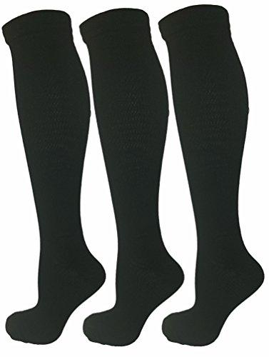 3 Pair Black S/M Compression Socks (Black, Large/X-Large) (Relief Bund)
