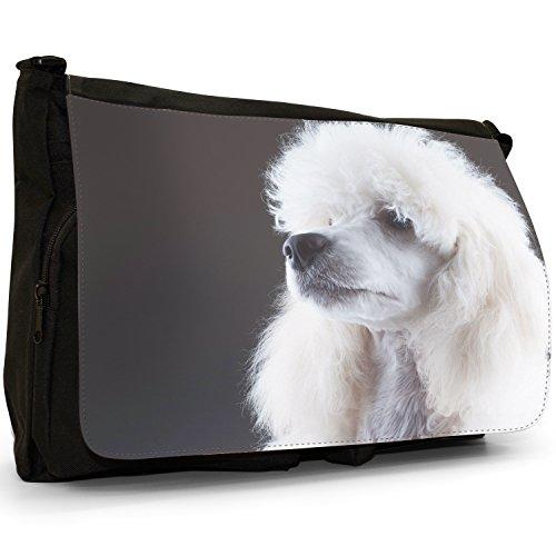 Barboncino caniche barbone Fluffy cane grande borsa a tracolla Messenger Tela Nera, scuola/Borsa Per Laptop Elegant White Poodle Portrait