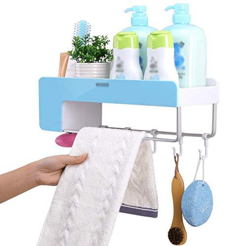 M-YN Handtuchhalter Wand Bad, Handtuchhalter Raum Aluminium Handtuchhalter mit Double-Layer-Tuch-Regal for Badezimmer, Wand- (40 cm lang) (Color : Blue)