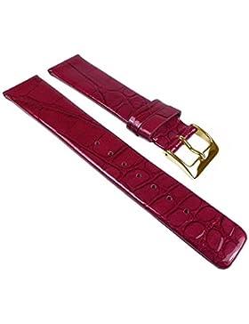 Ersatzband Uhrenarmband Leder Band Rot, glänzend mit Kroko Prägung 25266G, Stegbreite:14mm