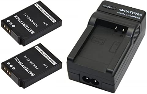 2x Akku (baugleich Nikon EN-EL12) + 1x Ladegerät SET für die NIKON Coolpix S9500 S9400 S31 S800c S9100 S8000 S8100 S8200 P300 P310 P330 S6150 S6200 AW100 AW110 inklusive Kfz- / Autoladegerät