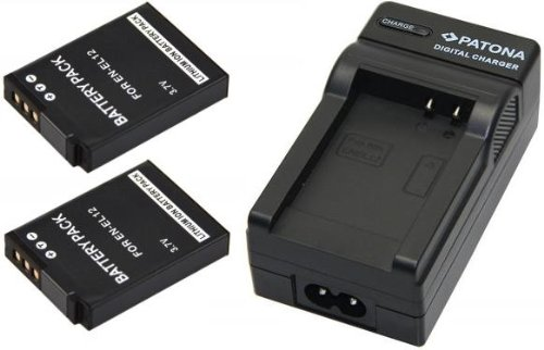 2x Akku (baugleich Nikon EN-EL12) + 1x Ladegerät SET für die NIKON Coolpix S9500 S9400 S31 S800c S9100 S8000 S8100 S8200 P300 P310 P330 S6150 S6200 AW100 AW110 inklusive Kfz- / Autoladegerät Nikon-kamera-bundle