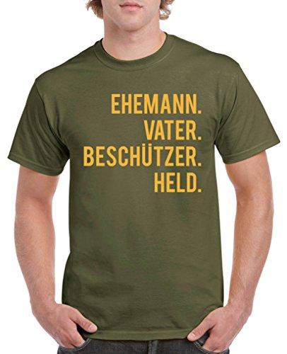 Comedy Shirts - Ehemann. Vater. Beschützer. Held. - Herren T-Shirt - Oliv / Gelb Gr. XXL (Grünes T-shirt Türkei Die)