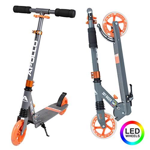 Apollo Scooter LED - Skyracer mit Led Wheels 145mm City Scooter mit Federung, City-Roller klappbar und höhenverstellbar, Kickscooter für Kinder und Teens