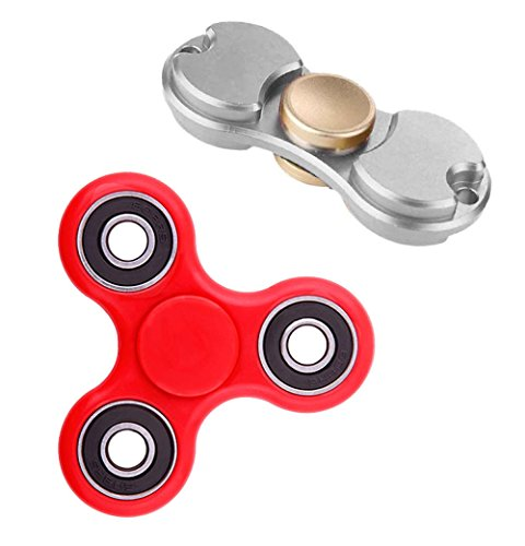 deAO-Dual-Bar-and-Tri-Bar-Hand-Spinners-PROBALANCE-Sensory-Integration-Fidget-Toys-Pack-Of-2-Improves-Concentration-and-Relaxation-Anti-stress-and-Antianxiety-SILVER-RED
