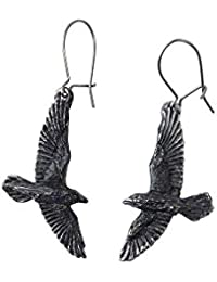 Black Raven Pair of Earrings by Alchemy Gothic by Alchemy of England
