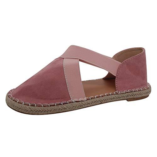 Sandalen Closed Toe,Dorical Damen Summerschuhe Flach Cross Tie Schuhe Sandaletten Strandschuhe Gr.35-43 EU Reduziert(Rosa,38 EU) -