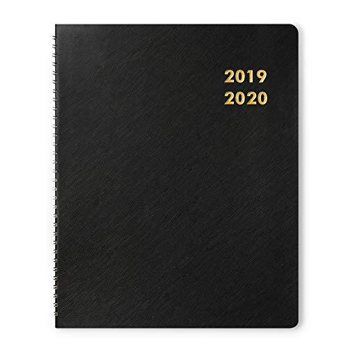 Dexmon - agenda mensile 2019-2020, agenda annuale annuale con rilegatura a spirale, 21,6 x 27,9 cm, grande, colore: nero