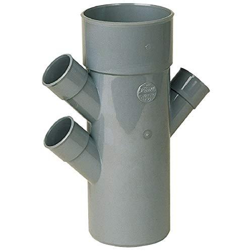 Raccord PVC gris triple équerre 45° Ø 40 40 100 40 mm Quadruple emboîture Nicoll