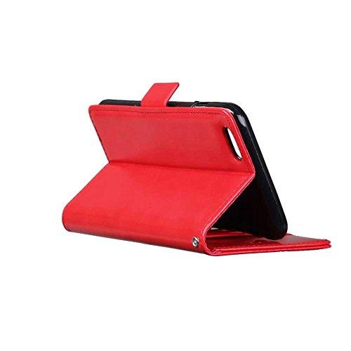 iPhone Case Cover Solid Folio couleur Stand Wallet Case Avec 3 Card 1 Cash Slots latérale magnétique Buckle Pattern Case pour IPhone 6 6S ( Color : Red , Size : IPhone 6 6S ) Red