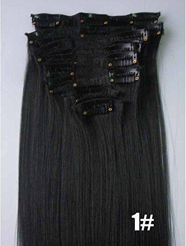 WEATLY 55 cm 130g 12 Teile/Satz Frauen Lange Gerade Synthetische Haar Vollen Kopf Clip In Haarverlängerungen Stücke (Grau, Gold, weinrot, schwarz) (Color : Black) - Gerade Synthetische Clip
