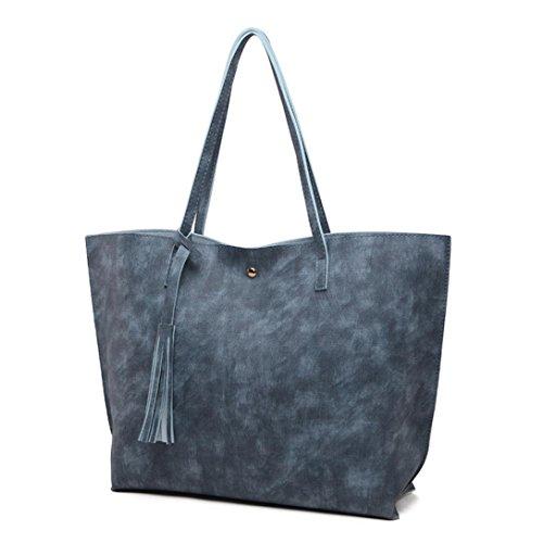 Damen Handtaschen, Huhu833 Frau Casual Taschen Frauen Leder Quaste Große Kapazität Handtasche Schultertasche Umhängetasche Dunkel Blau