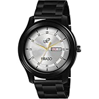 PIRASO Stunning Look Crystals Studded in Dial with Day and Date Display Chain Watch for Men Boys