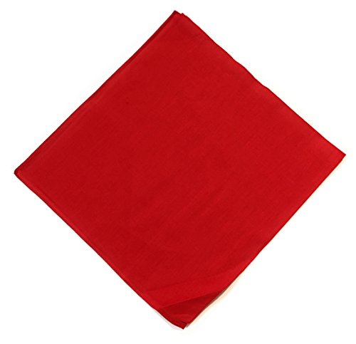 JillyMode Bandana Kopfttuch 100% Baumwolle in vielen Farben Paisley Muster und mehr (H234-Uni/Rot)