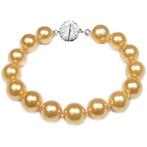 Bling Jewelry 10 millimetri nuziale South Sea Shell oro del braccialetto della (10 Millimetri Sintetico Perle)