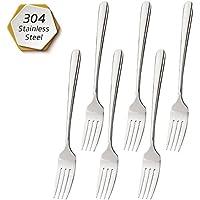 FOXAS Set de 6pcs Tenedores de Mesa Cena Carne Pasta Horquilla, Acero Inoxidable 304
