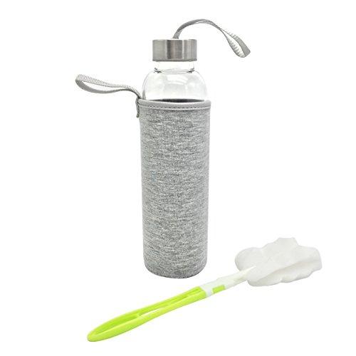 Glasflasche - VOYAGE BPA-frei Glasflasche - 550ml Trinkflasche Classic mit Nylon Tasche - für Auto - für Unterwegs Sport Flasche Glas Flasche Water Bottle Wasserflasche Trinkflasche aus Glas (grau)