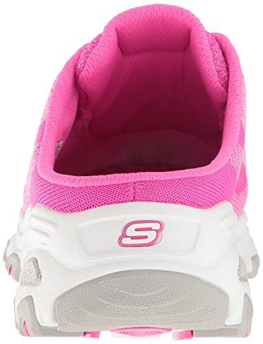 Skechers Sport Women's D'Lites Slip-On Mule Sneaker Hot Pink Knit