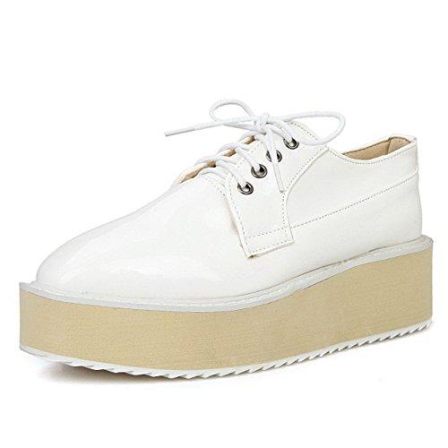 AllhqFashion Femme Couleur Unie Microfibre à Talon Correct Carré Lacet Chaussures Légeres Blanc
