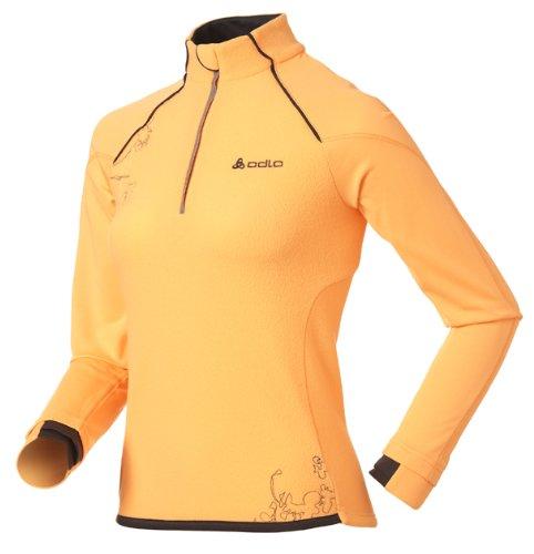 Odlo Glance T-shirt à manches longues, col montant et demi-fermeture Éclair pour femme Multicolore - Orange/gris/blanc