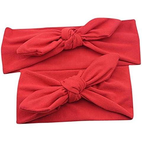 Diademas para bebé y madre, Sannysis 2PCS Joyas para el pelo Conejo arco Hairband (Rojo)