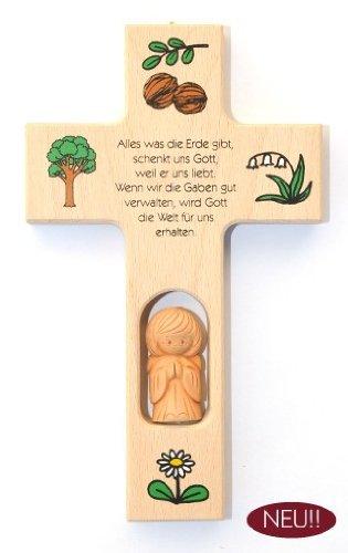 Schutzengelkreuz mit Tonengel 'Alles was die Erde (Kostüm Erde Kinder Mutter Für)