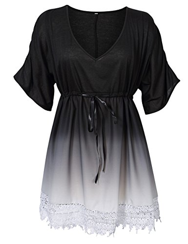 KoJooin Damen Plus Size V-Ausschnitt Gradient Spitze Mini Kleid Schwarz 2XL Kleider Frauen Schwarz Plus Size