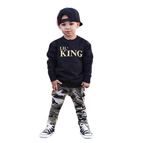 Covermason Bebé Niños 'LIL' KING' Impresión Mangas Larga Camisetas y Camouflage Pantalones (2PCS/1 Conjunto) (4-5Años, Negro)