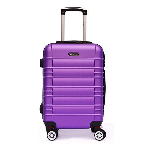 SHAIK SerieCLASSIC JFK Design Hartschalen Trolley, Koffer, Reisekoffer 4 Doppelrollen Zwillingsrollen, Zahlenschloss (Handgepäck, Lila)