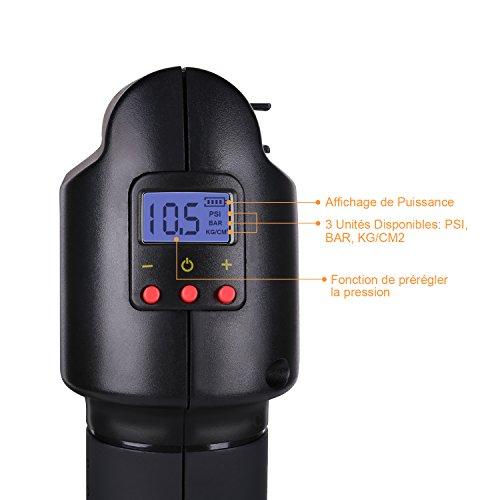 Oasser Compresseur d'Air Electrique Gonfleur Portable à Main Pompe à Air avec Manomètre Ecran LCD d'Affichage Numérique à Batterie de Lithium 12V Rechargeable - 130PSI