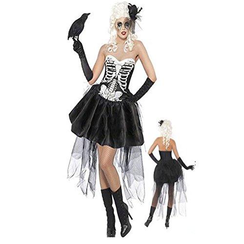 Gorgeous Halloween-Kostüm- Kleid weibliche Vampir Zombie-Schädel -Halloween- Maskerade Partei Kleidung Hexe (Vampir Weibliche Kostüme)