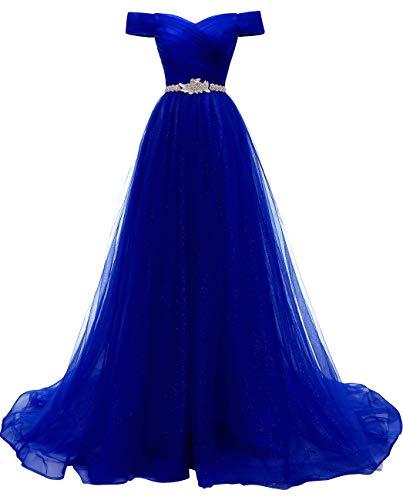 Schulterfrei Abendkleider Tüll Prinzessin Lange Party Ballkleider mit Gürtel 2018 Königs Blau Größe 48