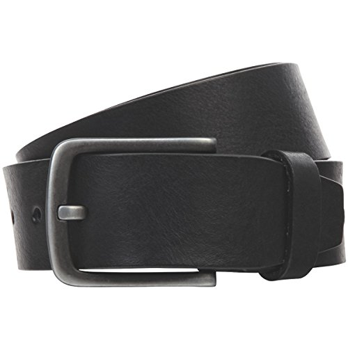 Lindenmann Mens leather belt/Mens belt, full grain leather belt, black, Größe/Size:100, Farbe/Color:noir
